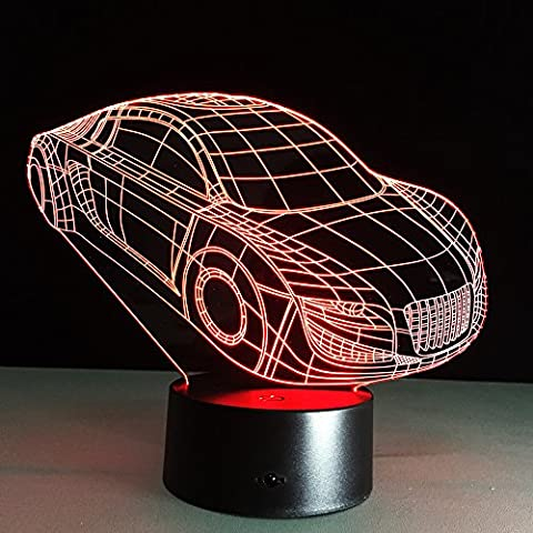 Optical Illusion 3D Lamp 7 Colour Changing Car,Unique Night Light Car Make Beautiful Gifts for Mom and Amazing Desk Lamps for Dad,Multicolored USB Powered