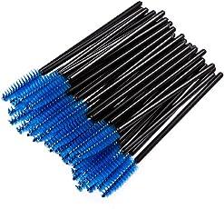 Sunward Hot!50Pcs Disposable Eyelash Brush Mascara Wands Makeup Cosmetic Tool Length:app 10cm/3.94'' Blue