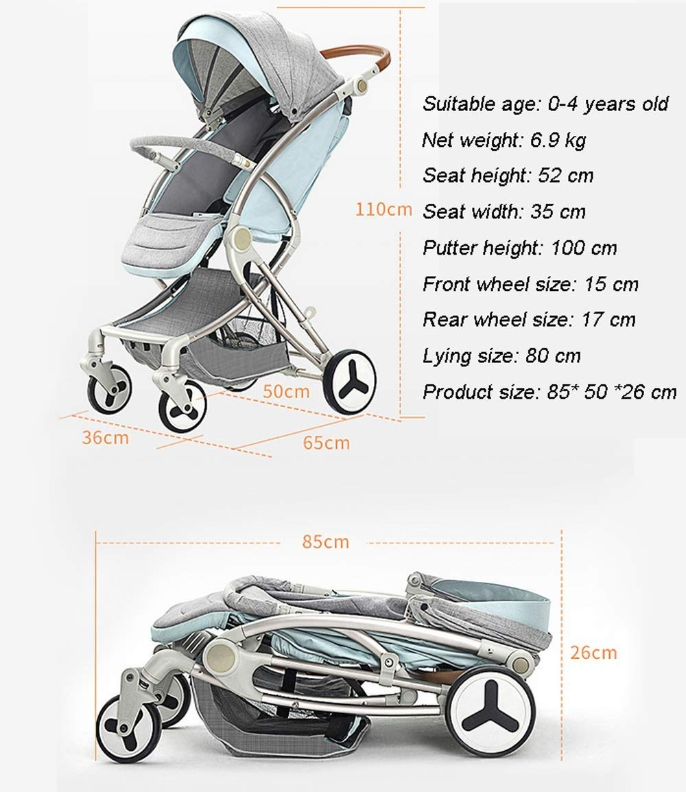 LAZ Newborn Infant Baby Stroller, Folding Lightweight Baby Stroller Toddler Travel System Anti-Shock Pram for Toddler Girls and Boys Stable Stroller (Color : Pink)  ★ Quick folding system. The folding stroller weighs about 7KG and is light! ★ Five-point seat belts protect your baby at all times, and parents don't have to worry about your baby slipping out of the stroller. ★ Supports supine, multi-position tilting seat, lying and sitting position, with a comfortable system. 8