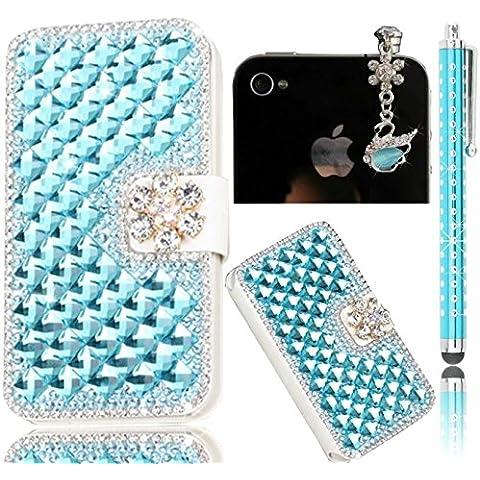 Sunroyal® Blu 3D Bling Strass Diamanti Custodia