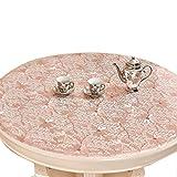 Tischdecken Plastikschreibtisch Pads Klare Kaffee Esszimmer Ende Arbeitsplatte Rosa Blumenmuster (Größe : Diameter 90cm)