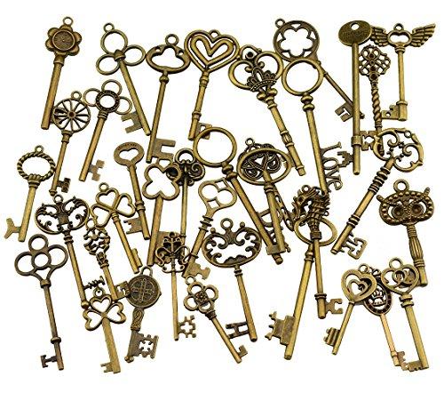36 Stücke Große Antike Bronze Finish Skeleton Keys Rustikalen Schlüssel für Hochzeitsdekoration Favor, Halskette Anhänger, Schmuck Machen