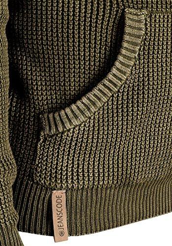 INDICODE Asher Herren Kapuzenpullover Hoodie Sweatshirt aus 100% Baumwolle Dark Olive (644)