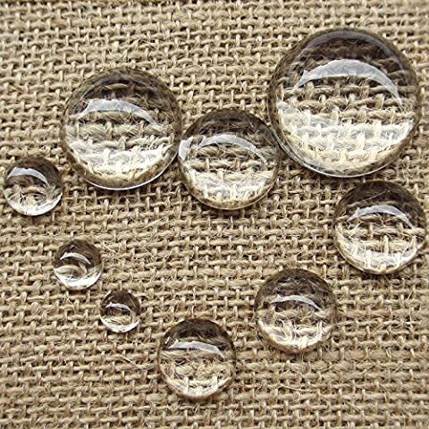 Upick 9 Sizes 30pcs Clear Half-ball Round Glass Dome Cabochon