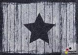 matches21 Fußmatte Fußabstreifer schmutzabsorbierend Schmutzfangmatte Stern & Holz grau / schwarz 50x70cm maschinenwaschbar bei 30°C