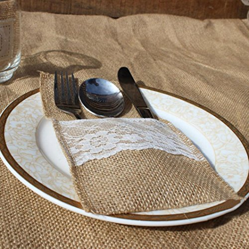 SMILEQ 5PCS Burlap Jute Lace Party Wedding Cutlery Bag Tableware Holder Pocket Xmas Party Decor (A)