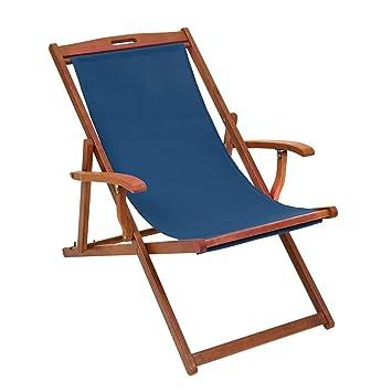 Chaise longue pliante de luxe en bois dur avec bras - Slip de tissu ...