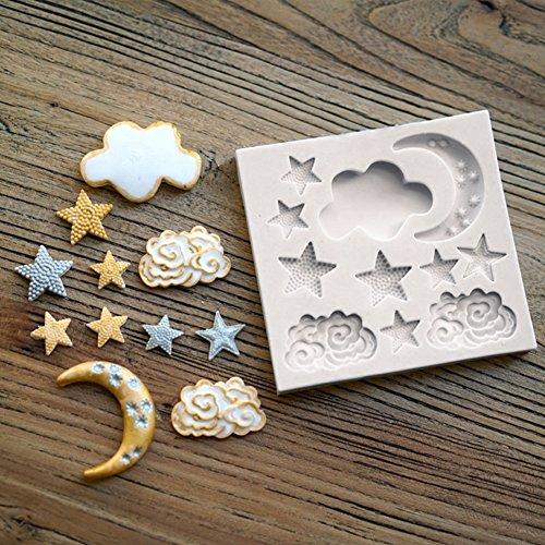 CFPACR Silikon-Form Moon Cloud Star Cake dekorieren Schokolade Fondant Mould DIY Tool-wei?