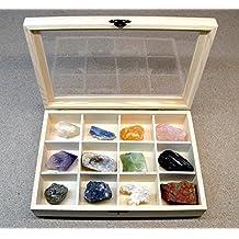 Mineral Import - Caja de Madera con 12 separadores para Piedras Piedras No Incluidas