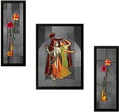 SAF UV Textured 'Radha Krishna' Print Frame Painting (Synthetic, 35 cm x 2 cm x 50 cm)