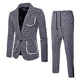Traje Suit Hombre 2 Piezas con Chaqueta y Pantalones Traje al Estilo Occidental, de Cuadros, Ajuste Moderno para Boda/Fiesta/Negocio