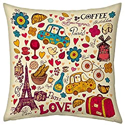 Valentine Gifts for Boyfriend Girlfriend Love Printed Cushion 12X12 Filled Pillow Beidge Paris Coffee Love Gift for Him Her Fiance Spouse Birthday Anniversary