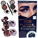 ADS 4 in 1 Long Lasting / Waterproof Gel Eye Liner and Eye Cake Powder, Black and Brown
