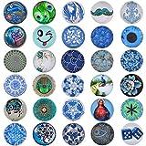 Morella 30 Click-Buttons Set Knöpfe Chunks Steine Blau-Grün Kunst kompatibel
