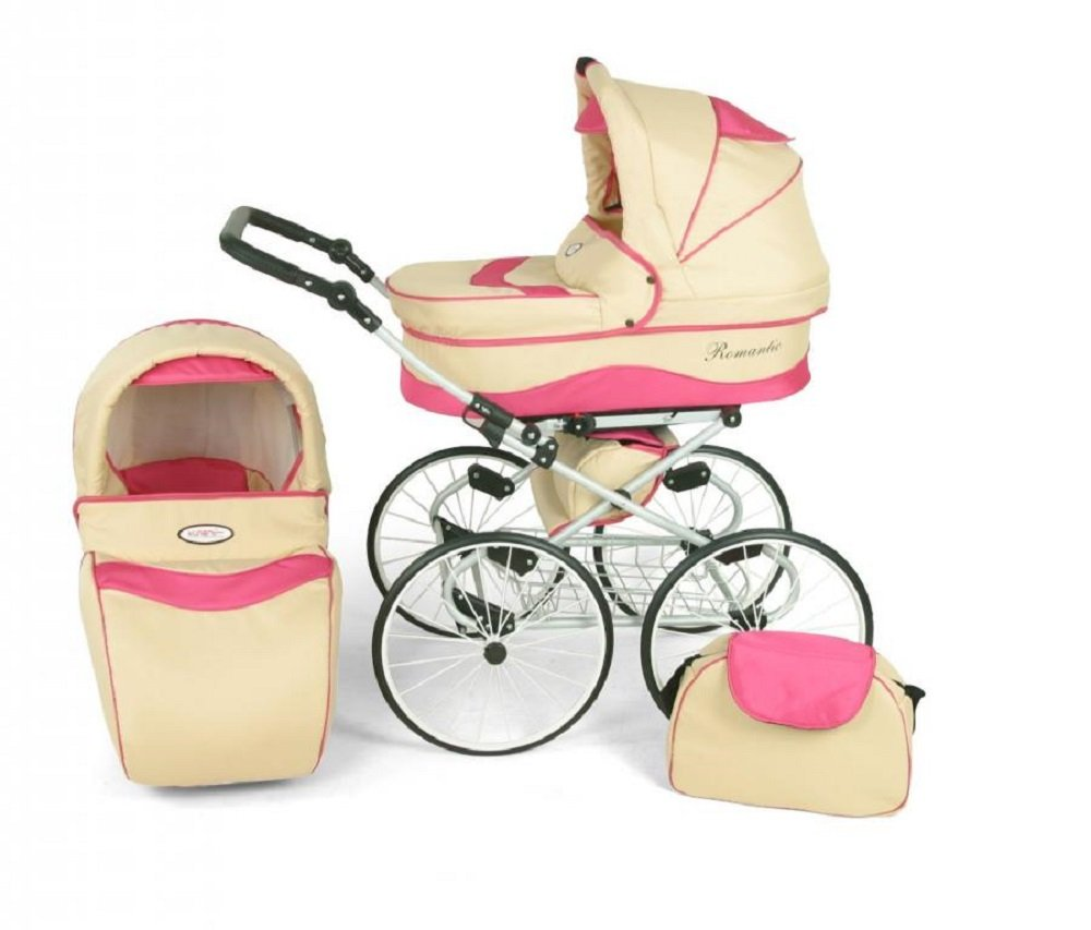 Hogartrend Romantic 17-Inch Wheel Baby Pram - 3 Piece Complete Set hogartrend A retro, classic and elegant style pram with all modern features. The kit includes:-chassis – large white 17-inch rubber wheels without air. - Carriage (canopy and cover)- Buggy (canopy and cover)- Pram (car seat with canopy and cover). 11
