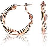 KUNLUN dames plaqué or cerceau boucles d'oreilles configuré avec 925 épingles à oreille en argent sterling (hypoallergénique)