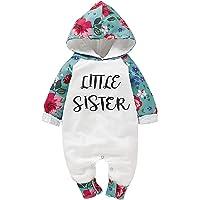 """Borlai - Tutina a maniche lunghe con scritta """"Little Sister"""", con cappuccio, motivo floreale, taglia 0-24 mesi"""