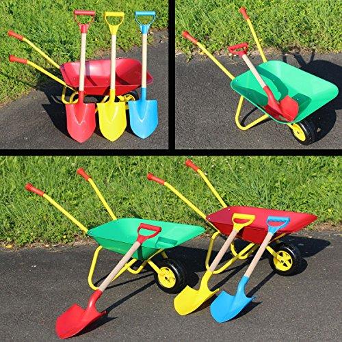 Set Metallschubkarre mit Spaten (Bis 30 Kg) Kinder Schubkarre für Garten, Strand oder Spielplatz (ROT)