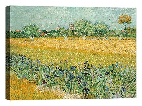 LuxHomeDecor Rahmen Druck auf Leinwand mit Rahmen in Holz Vincent Van Gogh Field With Irises near Arles 135x100 CM -