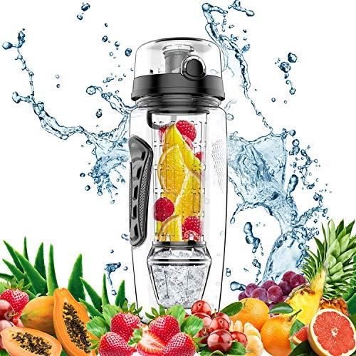 amzdeal Sports Trinkflasche mit Gel Freezer Ball 1 Liter Auslaufsicher Wasserflasche Fruit Infuser Tritan BPA-Frei Sport Flasche und Pinsel (Schwarz) -