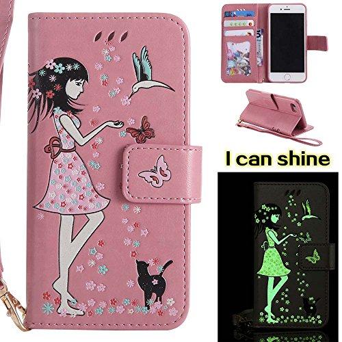 iPhone 7 Hülle [mit Free Screen Protector], COOSTOREEU premium - folio lederbrieftasche Hülle mit [Kickstand] [Card Slots] [magnetische verschluss] [luxuriöse trageschlaufe]flip - notebook - cover Hülle für iPhone 7,pink