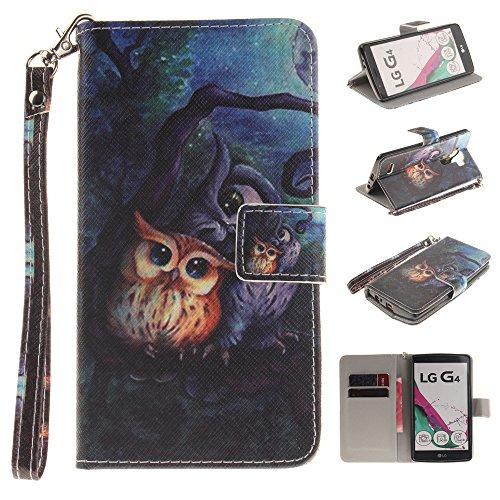Ooboom® LG G4 Hülle Flip PU Leder Handy Tasche Case Cover Schutzhülle Wallet Standfunktion Kartenfach für LG G4 - Eule