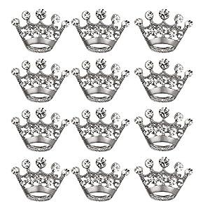 LUOEM Krone Brosche Pin Kristall Broschen Schals Schnalle Kragen Pin Corsage Bouquet Kit Hochzeit Party Brosche Pin 12PCS (Silber)