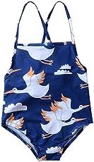 Chinatera Girl's One Pieces Halter Swimsuit Cartoon Geese Print Sunsuit Beachwear Tankini