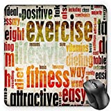 HYYCLS Fitness Tappetini per Il, Grungy Framework with Different Words Healthcare Concept Diet Endurance Exercising, Standard Size Rectangle Non-Slip Rubber Mousepad