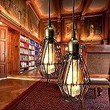 Kingso - Lampada a sospensione E27, lampadario gabbia in ferro, paralume con bussola, illuminazione da soffitto, stile industriale Vintage Retro