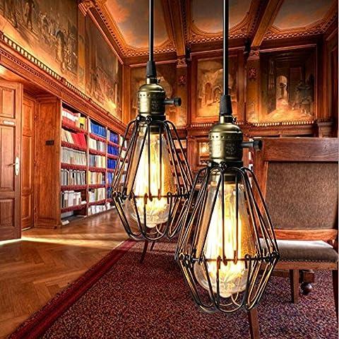 KINGSO E27 Lampenfassung Vintage Retro Pendelleuchte Hängeleuchte Loft Käfig Lampe