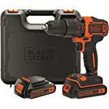BLACK+DECKER BDCHD18KB-QW Perceuse à percussion sans fil - 18V - 40 Nm - Lithium-ion - 2 vitesses - 2 batteries 1,5 Ah - Livrée en coffret