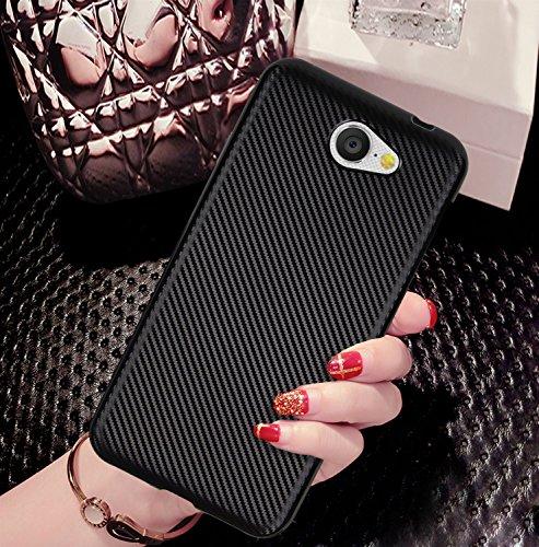 YHUISEN Slim Carbon Fiber Rubber Soft TPU Hybrid stoßfest Case Cover für Google Android One General Mobile GM6 ( Color : Black ) Silver