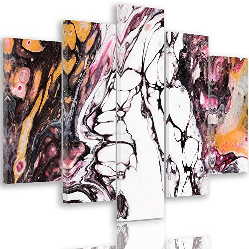 Feeby. Mayuko Miura - Farbe Abstrakt Mehrteilige Leinwandbilder 5 Panel Typ A - Größe: 200x100 cm - Weiß Braun Orange