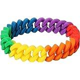 TRIXES Bracciale Intrecciato Arcobaleno Silicone - Accessorio Gay Pride LGBT Festival Eventi - Bracciale Dell'amicizia per Uo