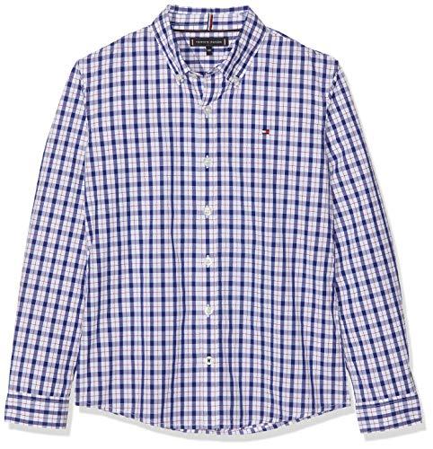 Tommy Hilfiger Jungen Dobby Check Shirt L/S Hemd Blau (Black Iris 002) 140 (Herstellergröße: 10) - Tommy Hilfiger Check