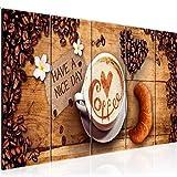 Bilder Küche Kaffee Wandbild 150 x 60 cm Vlies - Leinwand Bild XXL Format Wandbilder Wohnzimmer Wohnung Deko Kunstdrucke Braun 5 Teilig - MADE IN GERMANY - Fertig zum Aufhängen 501256a