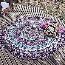 QHGstore Redondo Patrón Totem Beach Mat Toalla Yoga Tippet gasa Mantel púrpura del elefante 150cm