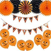 Easy Joy Happy Halloween Pennant Banner Tissue Paper Fans Latex Balloons for Halloween Birthday Event Party Decoration Black Orange 14pcs