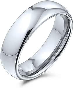 Bling Jewelry Plain Simple Dome Couples Titanium Wedding Band Anello Lucido per Uomo per Donna Comfort Fit Silver Tone 5MM