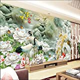 Y-Hui 3D Stereo Seamless Wall Cloth Jade Peony Mural Background Wall TV Wallpapers Living Room Wallpaper House and Fortune,275cmx235cm