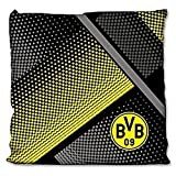 Borussia Dortmund BVB Kissen mit Punkten, Baumwolle, Schwarz/Gelb / Grau, 40 x 40 x 5 cm