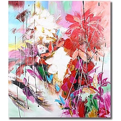 Raybre Art® 50 x 60 cm 100% Pintadas a mano sobre Lienzo Cuadros Modernos Abstractos Flores Grandes Pintura al óleo para Arte Pared Decoración Hogar Sala Cocina Dormitorio Hotel Escuela Restaurante, Sin marco (Rosa