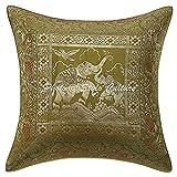Stylo Culture Indische Kissen für Betten Olive Brokat Jacquard Paisley Couch Kissenbezug Brokat Traditionelle 40x40 cm Elefant Quadrat Kissenbezüge (1 Stück)
