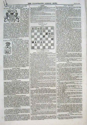 7 Schach-Probleme u. Lösungs-Antiken-Druck 1870