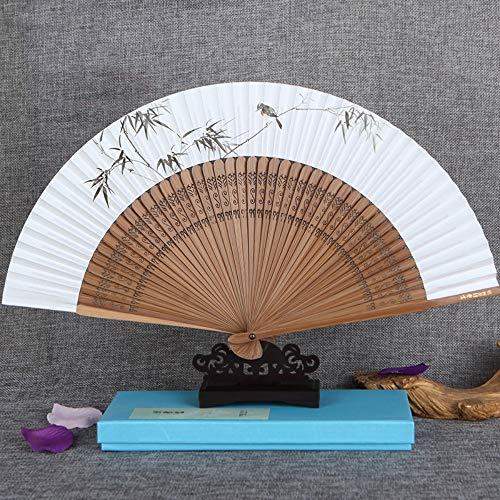 XIAOHAIZI HandfächerFächerFoldingFans Chinesische Klassische Papierfaltenfächer, Grüner Bambus Tier Vogel, Hohl Handwerk Womens Geschenk Dance Fan