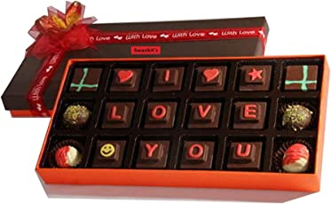 Swankit's Semisweet Chocolate Box with I Love You Message (Customizable)