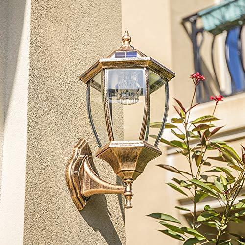 Solar Wandleuchte Garten Outdoor Wasserdichte Haushalts LED Induktionsleuchte Europäische Garten Wandleuchte (24 cm x 11 cm x 45 cm), Bronze Warmes Licht
