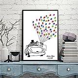 CXQWAN DIY Fingerabdruck Unterschrift Dekorative Malerei Kreativ Liebhaber Auto Hochzeit Party Party Leinwand Malerei,21x30cm