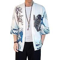 Aden Kimono Cardigan Uomo Vintage Stampato Haori Giacca Maniche 3/4 Magliette Tops